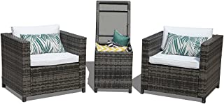 Patiorama Patio Porch Furniture Sets 3 Pieces PE Rattan Grey Wicker Chairs White Cushion with Storage Table Outdoor Garden Furniture Sets