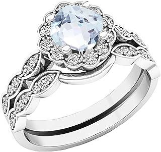 Dazzlingrock Collection 14K 5.5 MM Cushion Gemstone & Round Diamond Ladies Halo Style Engagement Ring Set, White Gold