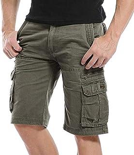 Kuson Hommes Shorts Bermudas Cargo Outdoor Coton Casual Lâche avec Poche