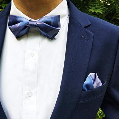 fjchyy Ilusión Traje de novia de boda Traje Azul Corbata de ...