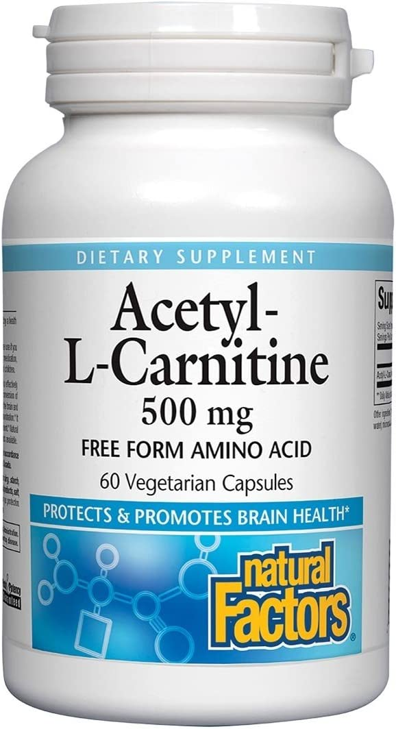 Natural Factors Acetyl L-Carnitine milligrams Spring new work 60 Vegetarian 500 Limited time trial price