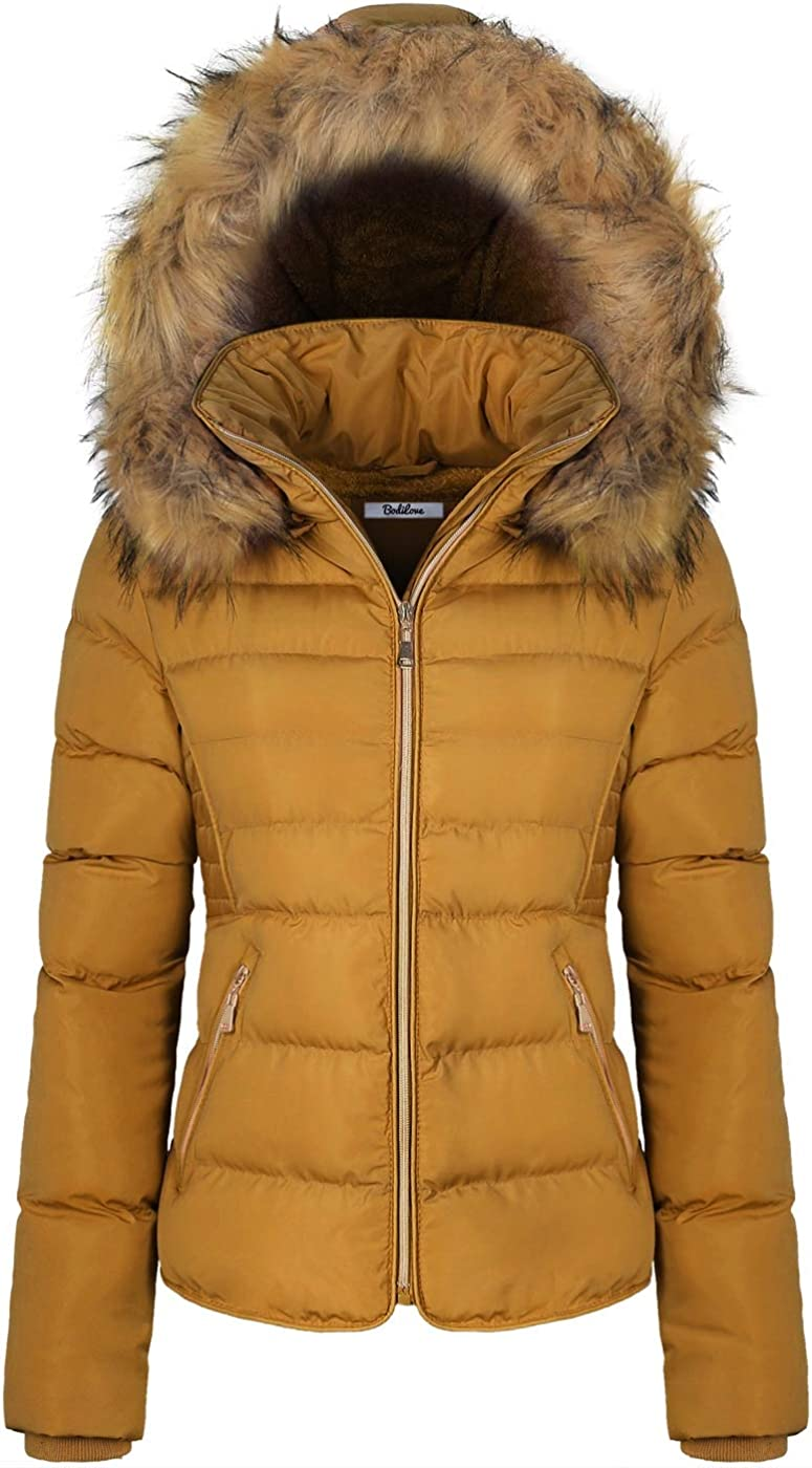 BodiLove Women's Winter Quilted Puffer with Short Los Angeles Mall Coat Re Houston Mall Jacket