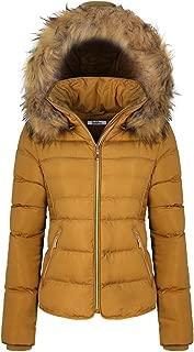 BodiLove Women's Fur Hooded Utility Jacket Zipper Fannel Lining