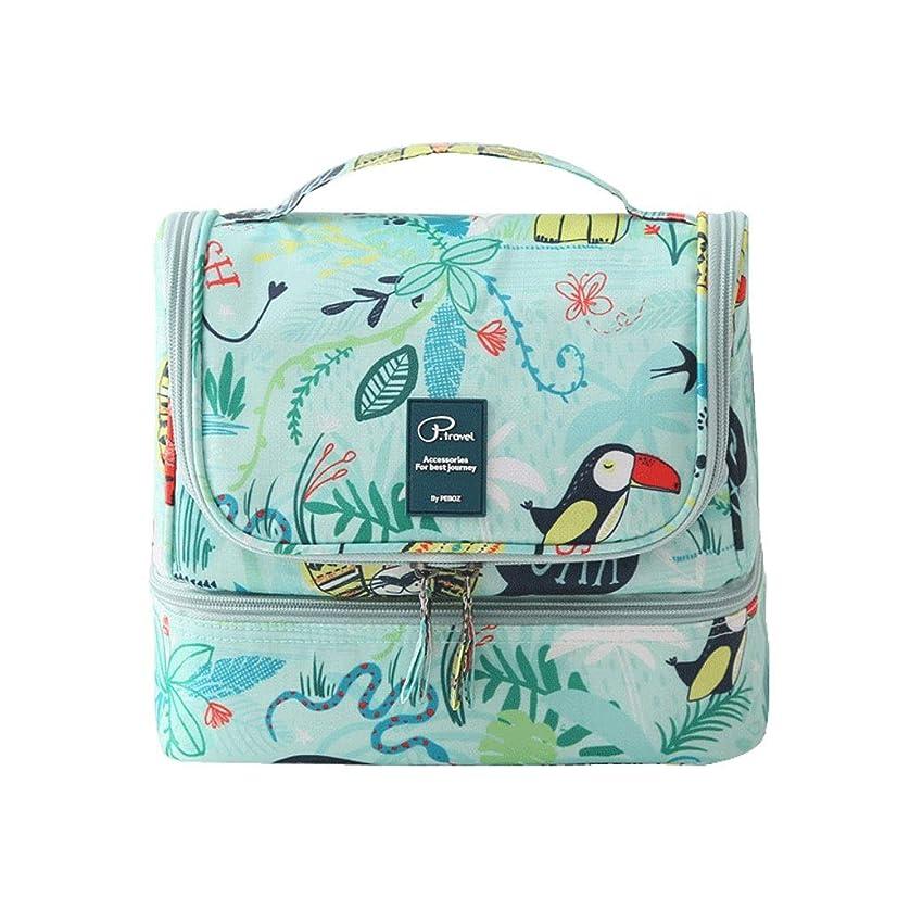窒息させる足首アンテナFRF 化粧品バッグ- 男性と女性のポータブル旅行防水印刷化粧品袋大容量収納袋ウォッシュバッグ (Color : Green, Size : 25x12.5x20cm)