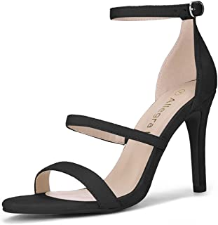 black three strap heels