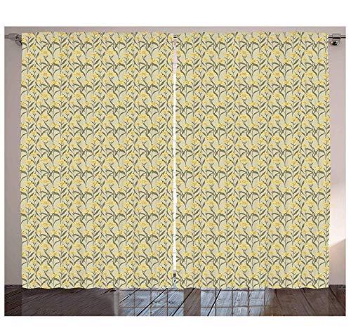 MUXIAND gele en groene gordijnen Kamille met retro design inspiratie Botanische rangschikking woonkamer slaapkamer raamgordijnen