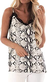 VESKRE Women's Summer Tank Tops Cotton Sleeveless T-Shirt Vest Fashion Lace Serpentine Print Camisole