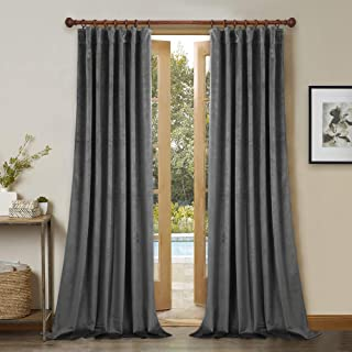 StangH Blackout Velvet Curtains 120-inch - Extra Long Elegant Velvet Insulated Drapes for High Ceiling, Full Covering Privacy Room Divider Drapery for Shared Space, Grey, W52 x L120-inch, 2 Pcs
