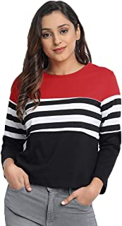 JUNEBERRY Cotton Regular Fit Full Sleeve Striped T-Shirt for Women