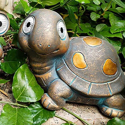 LIUSHI Solar Light Owl Statue Outdoor Patio Garden Decor Lawn Ornaments Yard Animal Decor,Tortoise+Height 5.2inch