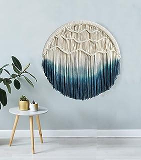 "FLBER OUTLET Blue Macrame Wall Hanging Dream Catcher Blue Tapestry Wall Art Home Wall Decor,23.6"" Diameter"