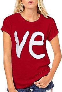 Spritumn Camiseta Manga Corta para Mujer Blusas con Cuello en O Amante Love Impresión Top Ropa de Pareja