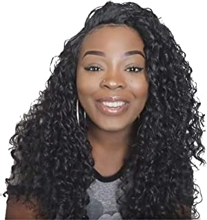 YEBO natural black Lace Front Wig Wavy Soft Synthetic Hair middle part Curly Kanekalon Hair for Woman(130% Density)
