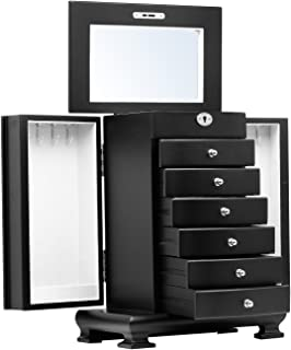 Black White Brown Large Wooden Jewellery Box Earrings Bracelets Organizer 6 Drawers Mirror Lock and Key 10