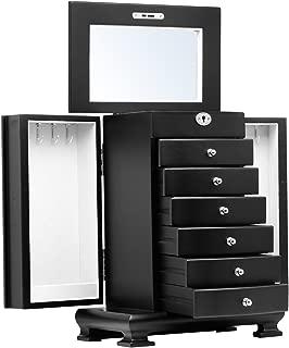 Black White Brown Large Wooden Jewellery Box Earrings Bracelets Organizer 6 Drawers Mirror Lock and Key 10