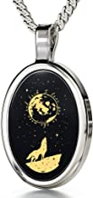 Nano Jewelry I Love You to The Moon and Back Necklace 24k Gold Inscribed with Nostalgic Howling Wolf and Stars onto an Oval Black Onyx Gemstone Pendant for Women, 18