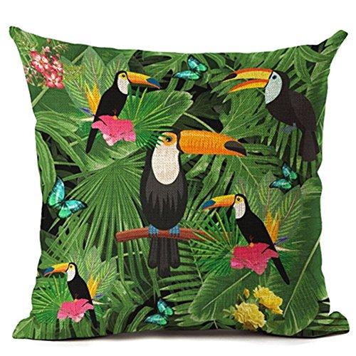 Housse de coussin en lin Vert tropical Motif plantes, feuilles et fleurs, Lin, 1 Bird With Green Leaves, 1 Bird With Green Leaves