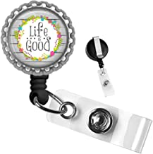 Inspirational Life is Good Silver Retractable ID Tag Badge Reel by Geek Badges