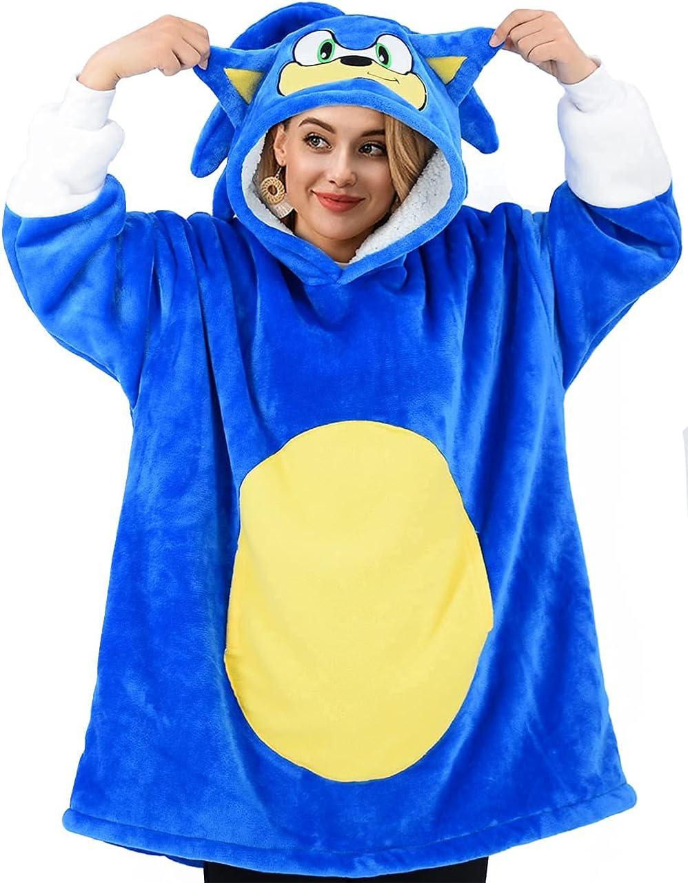 LZBXBXDA Sonic Wearable Blanket Sweatshirt Sherpa We OFFer at cheap prices 1 year warranty Oversized Hood