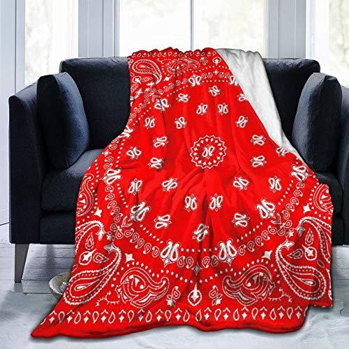 LightweightandComfortableBedding,Headband Pattern Bandana Red Western Paisley Handkerchief Scarf Bandanna Design,ABlanketSuitableforAllSeasonsisSuitablefor80'X 60'