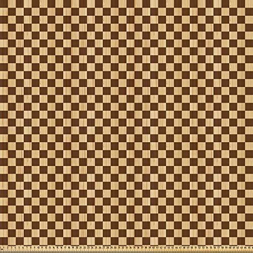 ABAKUHAUS Geruit Stof per strekkende meter, Schaakbord Houten, Microvezel Stof voor Kunstnijverheid, 3 m, Brown Pale Brown