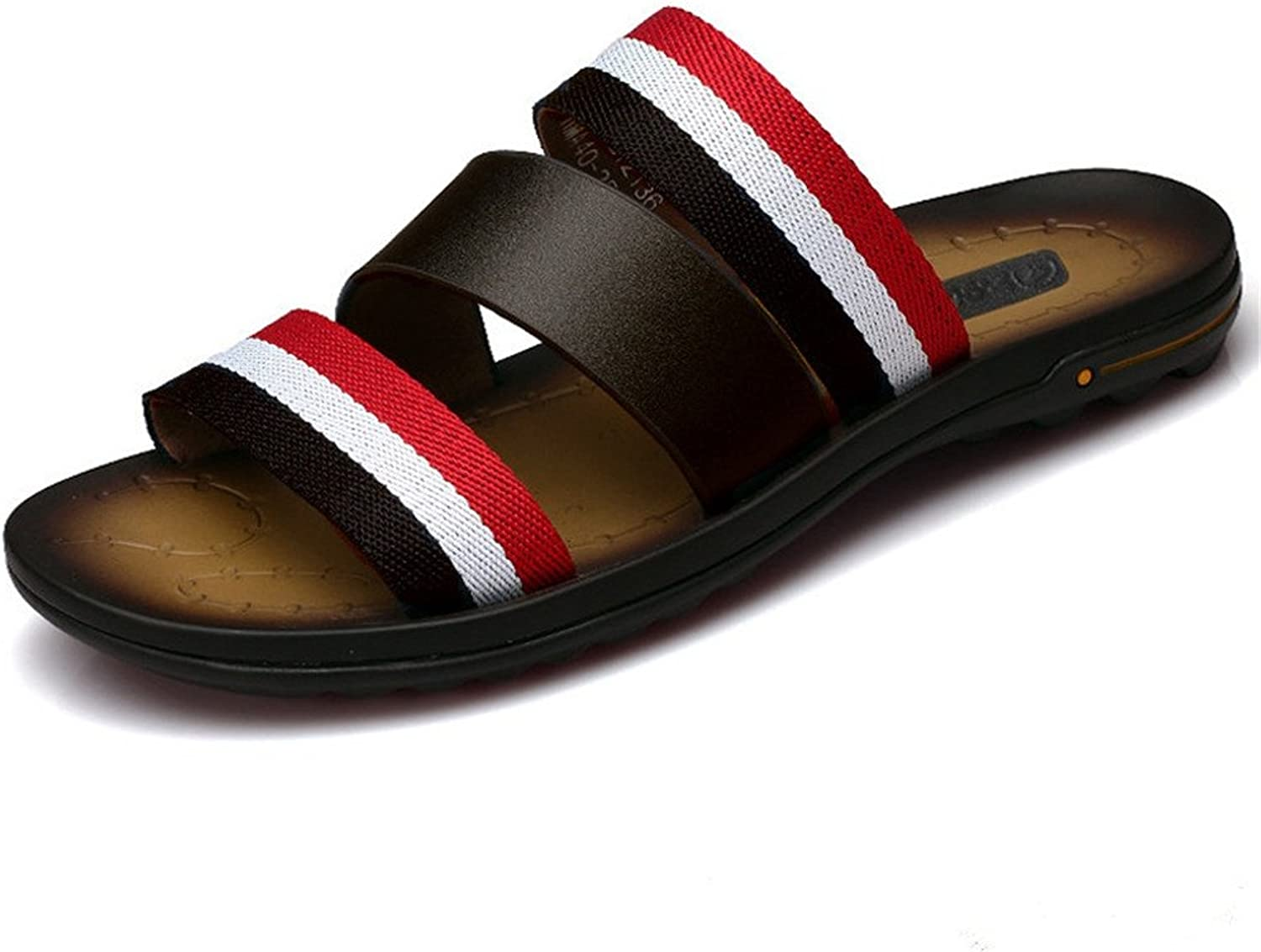 MSFS Men Leather Beach Slipper Classic Open Toe Sandals colorful Size 38To 43