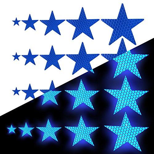 Tuqiang Sternform Reflektierendes Klebeband Wasserdicht Selbstklebend Für Fahrräder Baby's Auto Mini-Scooter's Hohe Sichtbarkeit Band Sicherheit im Freien Reflektierend Aufkleber 25 Stück Blau