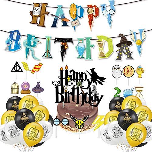 Mago Globos Decoración de Fiesta,Suministros para la Fiesta de Harry Potter,Cupcake Toppers Banner de Feliz Cumpleaños Mago Globo Halloween Fiestas Suministros para Niños
