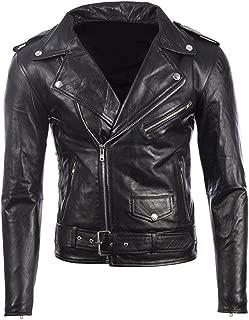 MDK Men's Black Belted Biker Jacket in Real Cow Hide Leather or Super-Soft Sheepskin Leather