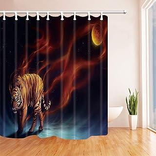 GooEoo 動物の装飾、夜のシャワーカーテンの月光のあるタイガー、ポリエステル生地の防水バスカーテン、71x71のシャワーカーテンフック付き