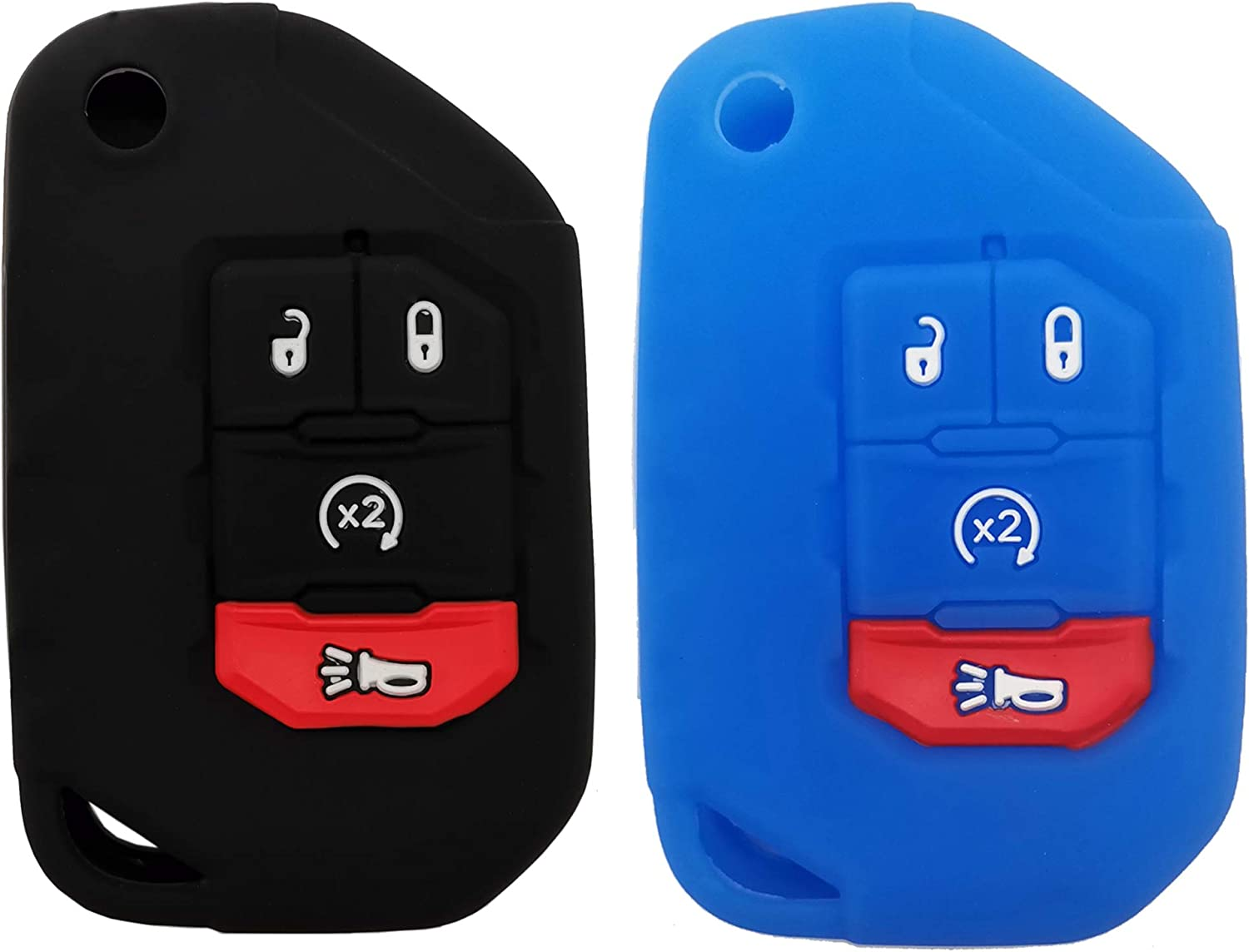 2Pcs Key Attention brand Fob Cover Case Protector Jeep 2019 Fit 2018 for Wrangle Outstanding