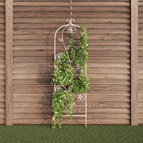 Pure Garden 50-LG5079 (Antique White) Garden Trellis-for Climbing Plants