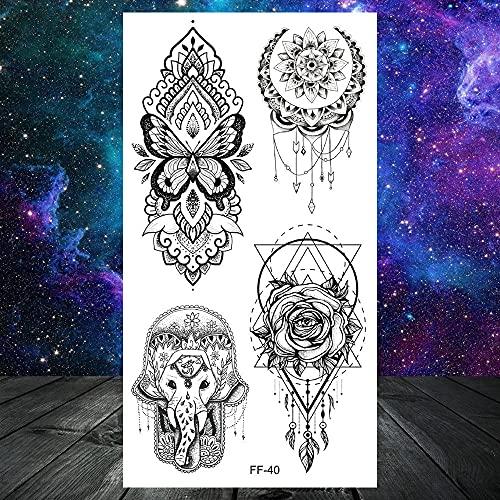 tzxdbh Búho Polilla joyería Hombres y Mujeres Tatuaje Temporal Mandala Flor Tatuaje Colgante geométrico Tatuaje Pecho Espalda arco-CFF040