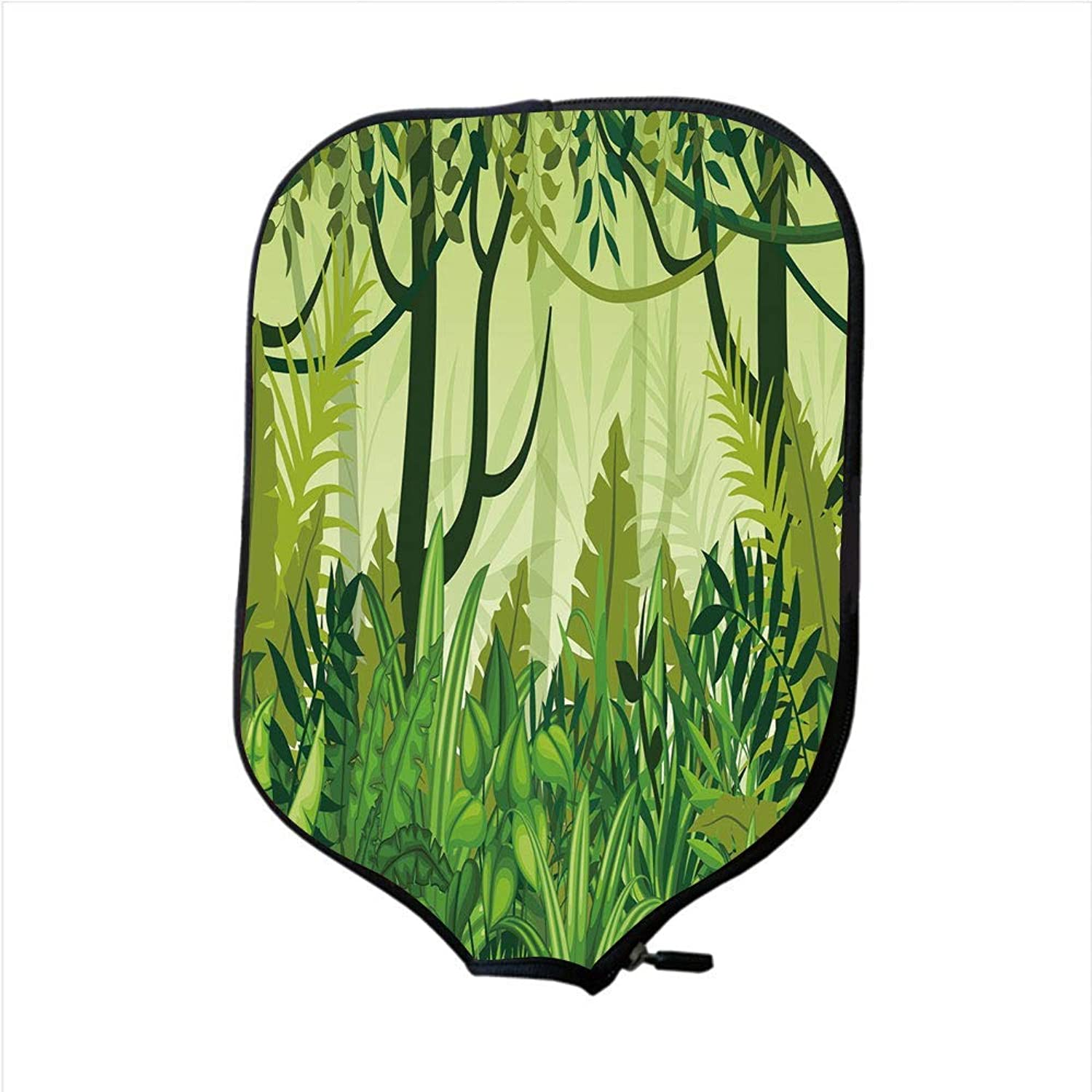 MOKALE Fine Neoprene Pickleball Paddle Racket Cover Case,Plant,Cartoon Style Jungle Depiction Hand Drawn Digital Rainforest Leaves Bushes Trees,Jungle Green,Fit for Most Rackets