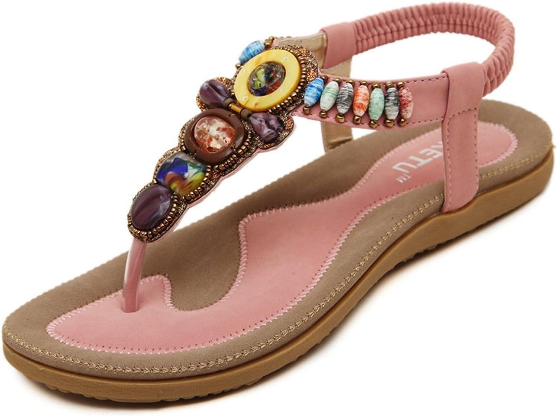 CYBLING Comfort Fashion Bohemian Flats Sandals for Women Beach Slip On Strap shoes
