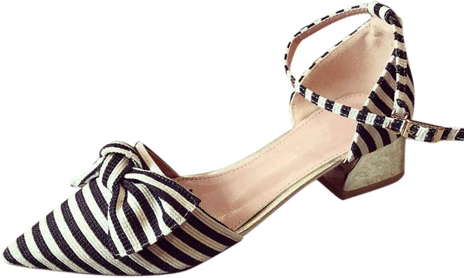 Be fearless Women's Sandals Casual Striped Design Pointed Shallow Mouth shoes Striped Bow Single shoes,Black,6