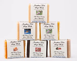Jonathan Kent Goats Milk Soap Bars - SWEET MEADOWS 6 Pack Sampler - Creamy Goats Milk, NO WATER, Fig/Pomegranate, Lavender Lemongrass, Sweet Morning Rose, Lavender Chamomile, Sweet Jasmine, White Lily