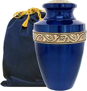 Serenity Large Blue Beautiful Adult Cremation Urn for Human Ashes - w Velvet Bag