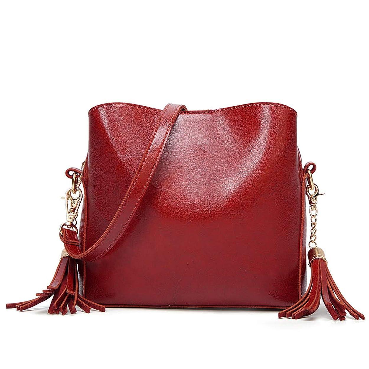 スペインへこみ同行女性革フラップタッセルショルダーメッセンジャークロスボディバッグカジュアルクラッチトートバッグ、女性のソリッドカラータッセル革ショルダーバッグ斜め小さな正方形のバッグハンドバッグハンドバッグ (赤)