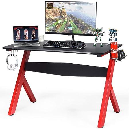 Gaming Desk w// Cup Headphone Holder Adjustable Feet Table Metal Racing Office UK