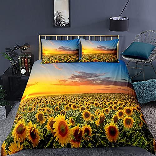 Sovrum sängkläder solros herrgård supermjuk och mysig lättskött påslakan täcke sängkläder set - 220 x 230 cm + 2 matchande örngott - 50 x 75 cm