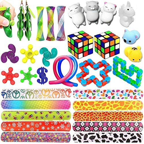 SpringFly Toy 16 Pack Bundle Toys Set-Bike Chain/Liquid Motion Timer/Rainbow Magic Sensory Ball and Squeeze Toys Value Assortment