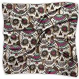 Rghkjlp Suger Skull Silky Square Scarf Kerchief Neck Scarf Headdress