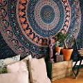 Bless International Indian-Hippie-Gypsy Bohemian-Psychedelic Cotton-Mandala Wall-Hanging-Tapestry-Multi-Color Large-Mandala Hippie-Tapestry