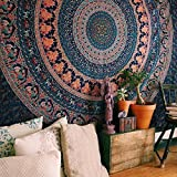 Indian-hippie-gypsy Bohemian-psychedelic Cotton-mandala Wall-hanging-tapestry-multi-color Large-mandala Hippie-tapestry (Queen (84x90Inches)(215x230Cms))