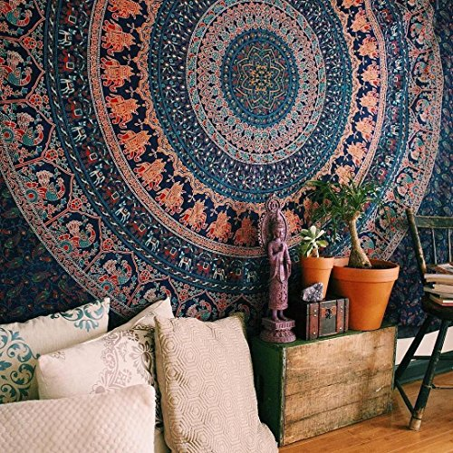 Jaipur Handloom Hippie Tapestry, Mandala Bohemian Tapestries, Indian Dorm Decor, Psychedelic Tapestry Wall Hanging Decorative Tapestry (Twin (54 X 84 inches Approx)(137 X 213 cms), Pastel Navy Blue)