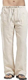 Rela Bota Men Linen Loose Pants Casual Elastic Drawstring Lightweight Yoga Beach Trouserswith Pockets