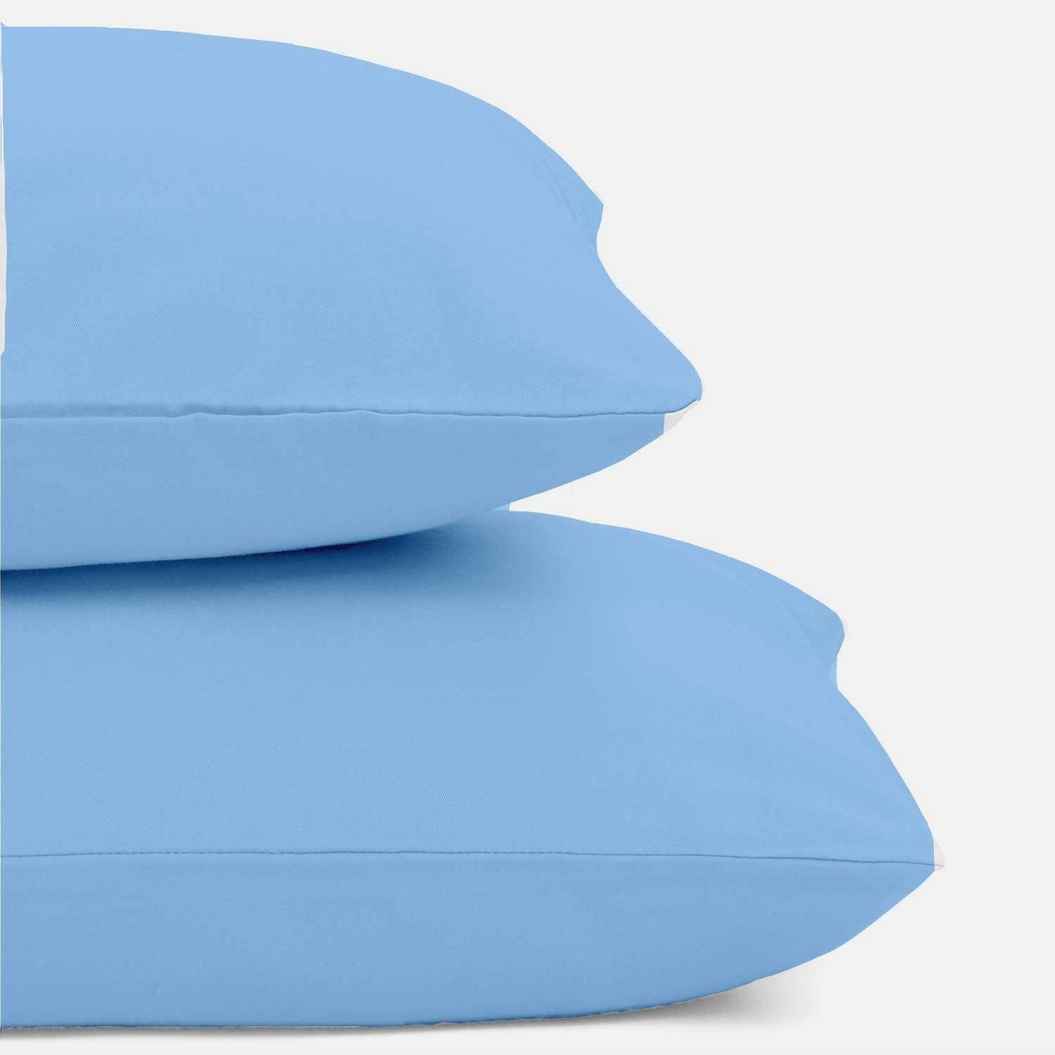 """Toddler Travel Pillowcases Set of 2 Frost Blue 14x20 Inches Envelope Style Giza Cotton Super Soft Travel Kids Pillow Shams 14/"""" x 20/"""" Fits Pillows Sized 12/"""" x 16/"""" 13/"""" x 18/"""" 14/"""" x 19/"""""""