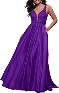 Jonlyc A-Line V-Neck Lace Appliques Prom Dresses Satin Long Evening Gown with Pockets