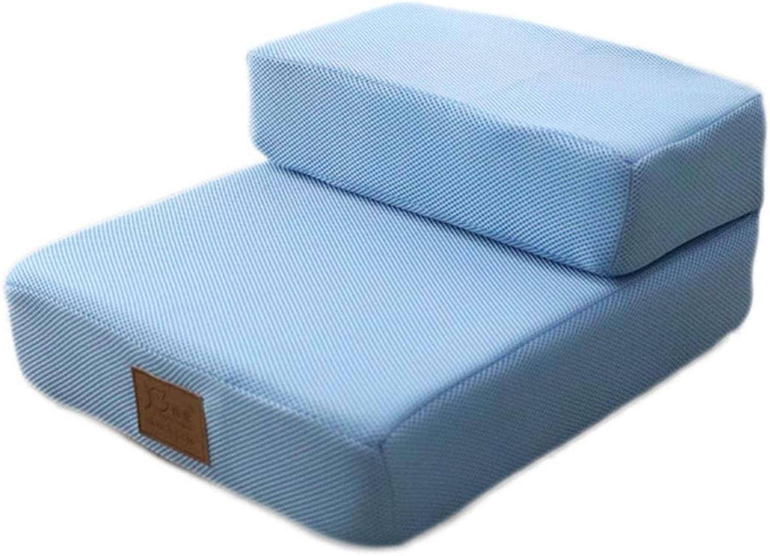 Pet Stairs Dog Bed Ladder Cat Ramp  2 3 Tier Foldable for Tall Sofa,Removable Washable Cover (color   bluee, Size   2STEP)